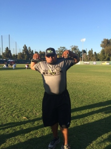 Coach Javi Ochoa at PFA Pitchers/Catchers Showcase